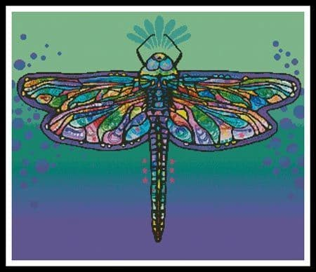 Abstract Dragonfly by Artecy printed cross stitch chart
